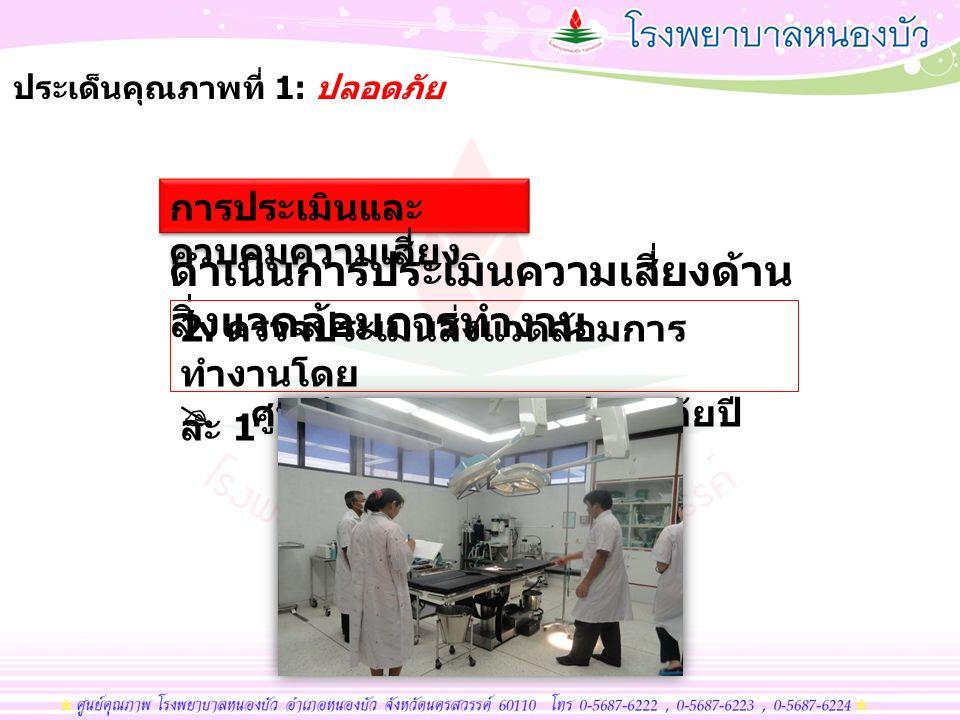 มีการปรับปรุงระบบบำบัดน้ำเสียของ โรงพยาบาลให้มีคุณภาพ ประเด็นคุณภาพที่ 3: ส่งเสริมสุขภาพและพิทักษ์สิ่งแวดล้อม เฝ้าระวังคุณภาพน้ำ ทิ้ง ( ค่า ph, ค่าคลอรีนก่อน ปล่อยทุกวัน, ติดตามส่งตรวจค่า BOD)