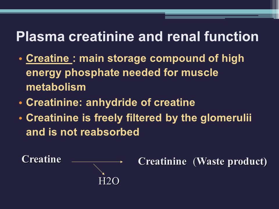 Creatine Creatinine (Waste product) H2O Creatine : main storage compound of high energy phosphate needed for muscle metabolism Creatinine: anhydride of creatine Creatinine is freely filtered by the glomerulii and is not reabsorbed Plasma creatinine and renal function