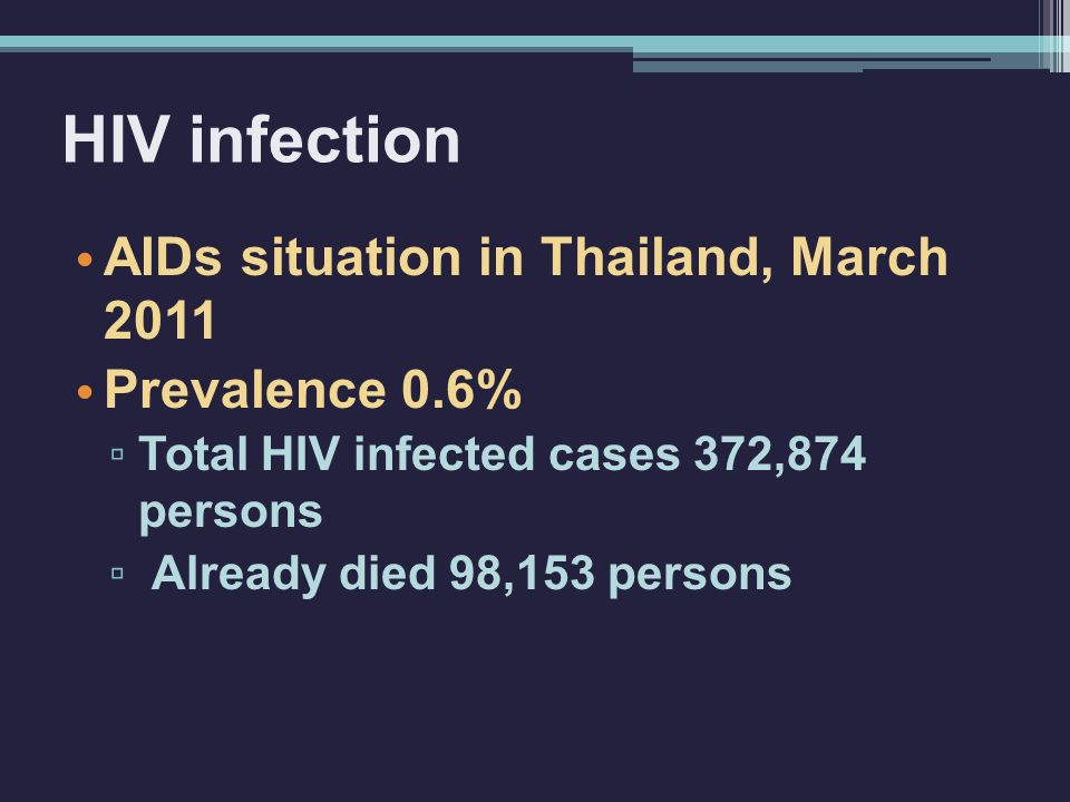 HIV infection AIDs situation in Thailand, March 2011 Prevalence 0.6% ▫ Total HIV infected cases 372,874 persons ▫ Already died 98,153 persons