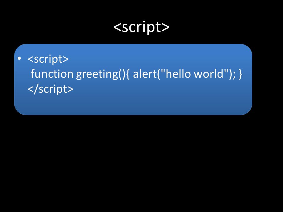 function greeting(){ alert( hello world ); }
