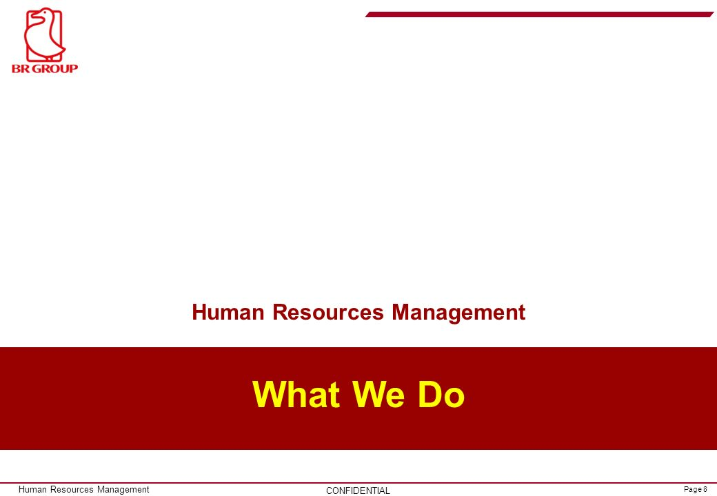 Page 8 CONFIDENTIAL Human Resources Management What We Do Human Resources Management
