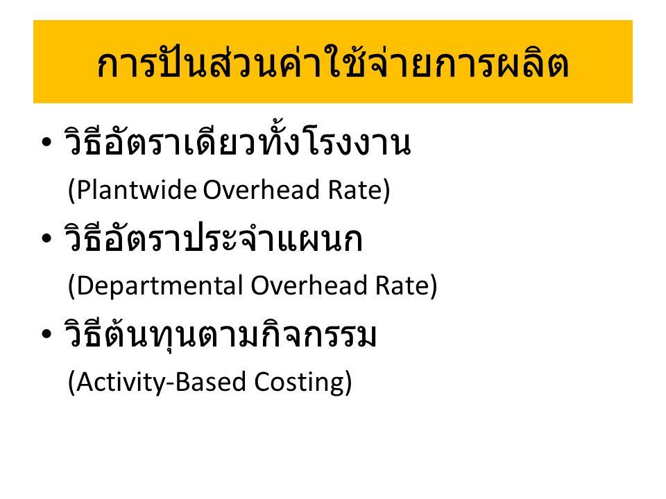 วิธีอัตราเดียวทั้งโรงงาน (Plantwide Overhead Rate) Indirect Labor Indirect Materials Other Overhead Cost Pool Products Direct Labor Hours
