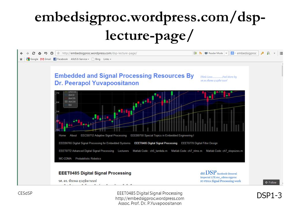 embedsigproc.wordpress.com/dsp- lecture-page/ DSP1-3 CESdSPEEET0485 Digital Signal Processing http://embedsigproc.wordpress.com Assoc. Prof. Dr. P.Yuv