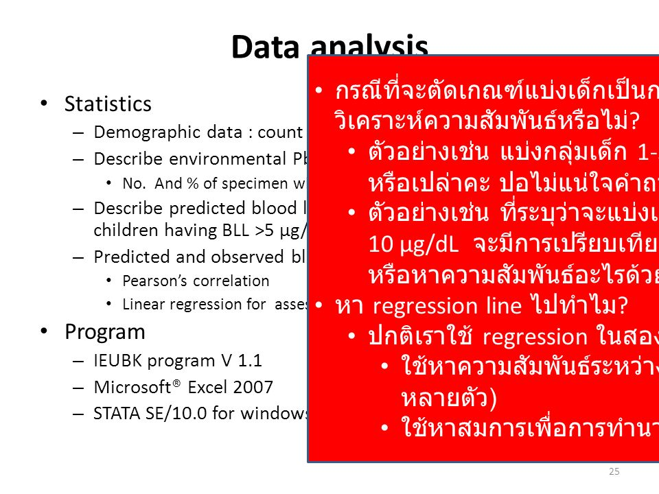 Data analysis Statistics – Demographic data : count and % for sex, agegroup – Describe environmental Pb level No. And % of specimen which exceed stand