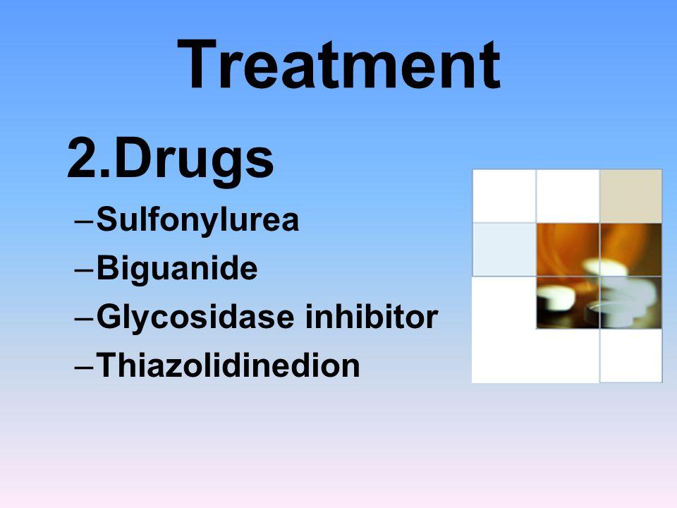 Treatment 2.Drugs –Sulfonylurea –Biguanide –Glycosidase inhibitor –Thiazolidinedion
