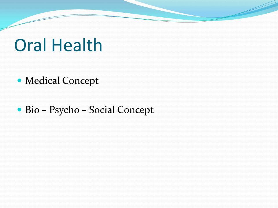 Oral Health Medical Concept Bio – Psycho – Social Concept