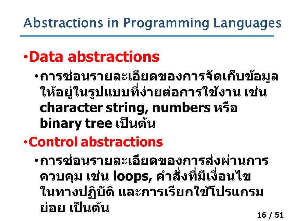 16 / 51 Data abstractions การซ่อนรายละเอียดของการจัดเก็บข้อมูล ให้อยู่ในรูปแบบที่ง่ายต่อการใช้งาน เช่น character string, numbers หรือ binary tree เป็นต้น Control abstractions การซ่อนรายละเอียดของการส่งผ่านการ ควบคุม เช่น loops, คำสั่งที่มีเงื่อนไข ในทางปฏิบัติ และการเรียกใช้โปรแกรม ย่อย เป็นต้น Abstractions in Programming Languages