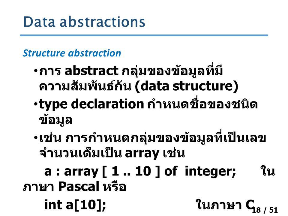 18 / 51 Structure abstraction การ abstract กลุ่มของข้อมูลที่มี ความสัมพันธ์กัน (data structure) type declaration กำหนดชื่อของชนิด ข้อมูล เช่น การกำหนดกลุ่มของข้อมูลที่เป็นเลข จำนวนเต็มเป็น array เช่น a : array [ 1..