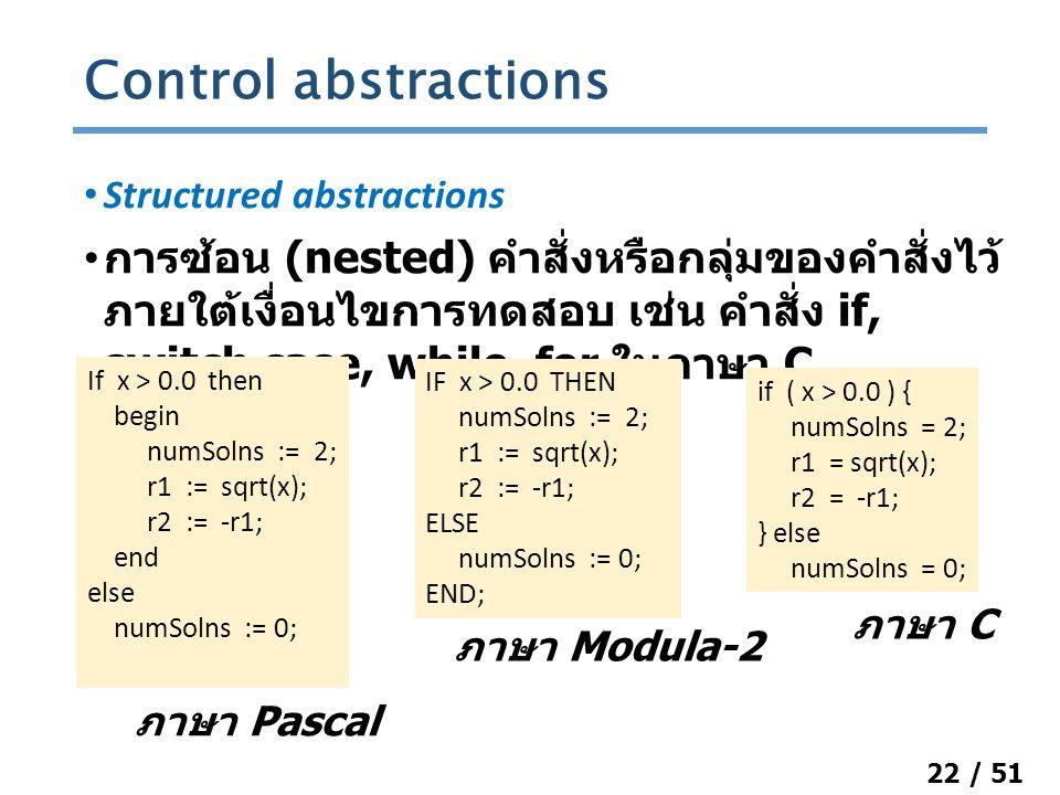 22 / 51 Structured abstractions การซ้อน (nested) คำสั่งหรือกลุ่มของคำสั่งไว้ ภายใต้เงื่อนไขการทดสอบ เช่น คำสั่ง if, switch case, while, for ในภาษา C Control abstractions IF x > 0.0 THEN numSolns := 2; r1 := sqrt(x); r2 := -r1; ELSE numSolns := 0; END; if ( x > 0.0 ) { numSolns = 2; r1 = sqrt(x); r2 = -r1; } else numSolns = 0; ภาษา Modula-2 ภาษา C If x > 0.0 then begin numSolns := 2; r1 := sqrt(x); r2 := -r1; end else numSolns := 0; ภาษา Pascal