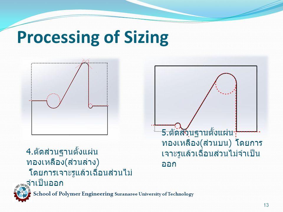 School of Polymer Engineering Suranaree University of Technology 13 Processing of Sizing 4. ตัดส่วนฐานตั้งแผ่น ทองเหลือง ( ส่วนล่าง ) โดยการเจาะรูแล้ว