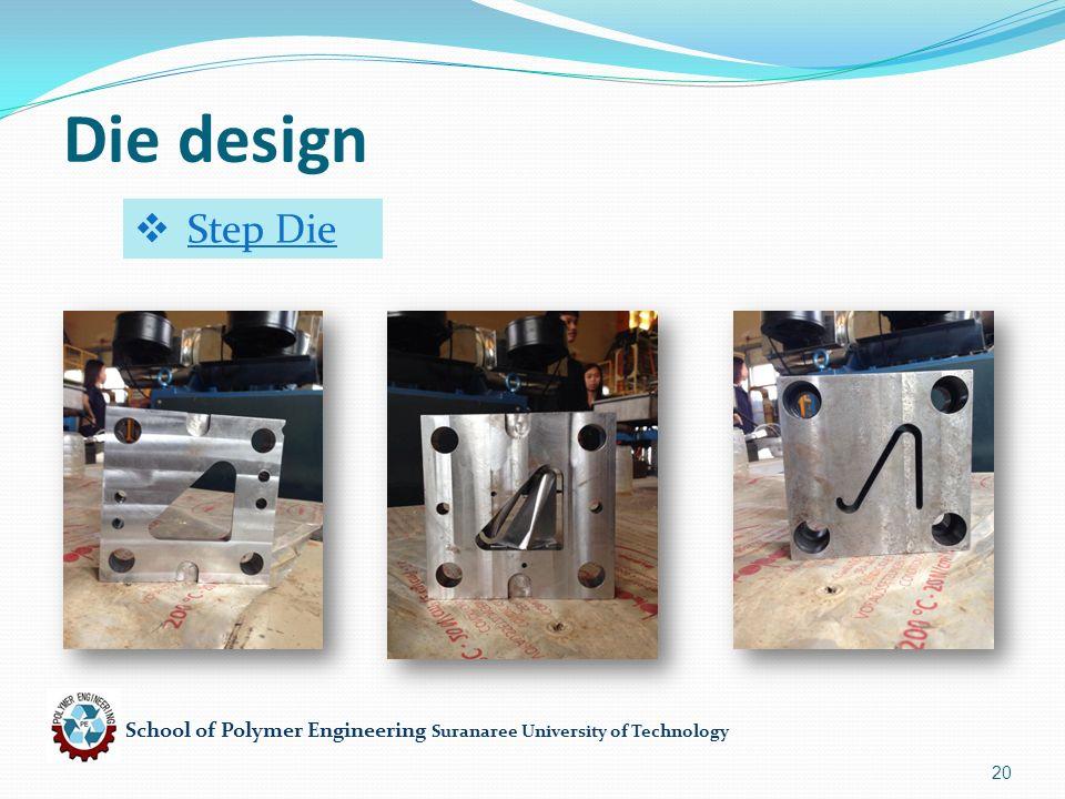School of Polymer Engineering Suranaree University of Technology 20 Die design  Step Die
