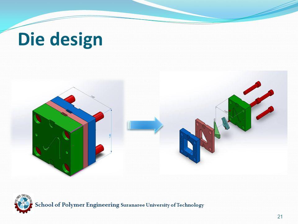 School of Polymer Engineering Suranaree University of Technology 21 Die design