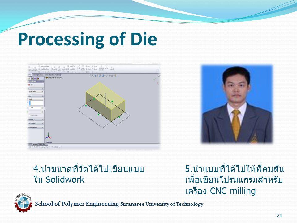 School of Polymer Engineering Suranaree University of Technology 24 Processing of Die 4. นำขนาดที่วัดได้ไปเขียนแบบ ใน Solidwork 5. นำแบบที่ได้ไปให้พี่
