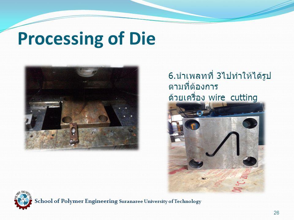 School of Polymer Engineering Suranaree University of Technology 26 Processing of Die 6. นำเพลทที่ 3 ไปทำให้ได้รูป ตามที่ต้องการ ด้วยเครื่อง wire cutt