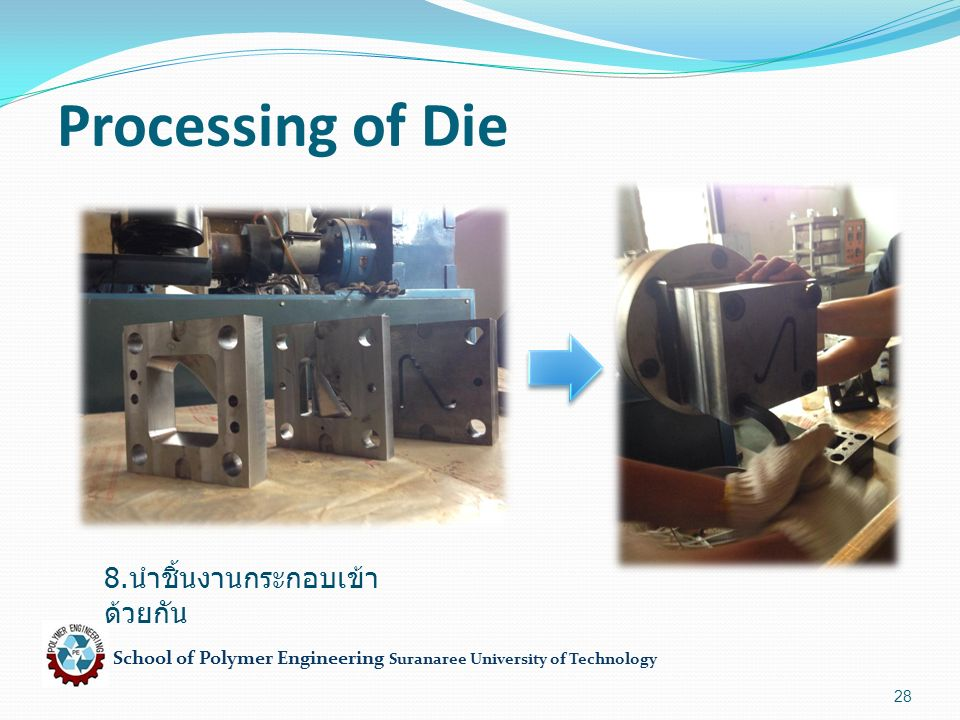 School of Polymer Engineering Suranaree University of Technology 28 Processing of Die 8.