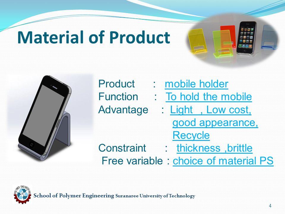 School of Polymer Engineering Suranaree University of Technology 25 Processing of Die 5.