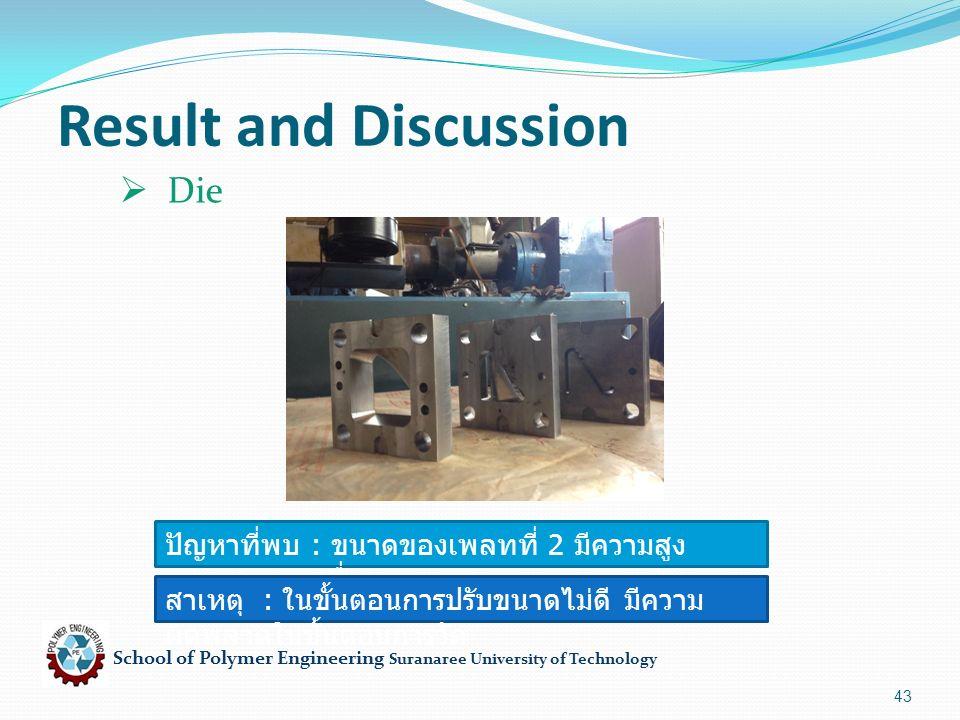 School of Polymer Engineering Suranaree University of Technology 43 Result and Discussion ปัญหาที่พบ : ขนาดของเพลทที่ 2 มีความสูง มากกว่าเพลทอื่น สาเหตุ : ในขั้นตอนการปรับขนาดไม่ดี มีความ ผิดพลาดในขั้นตอนการวัด  Die