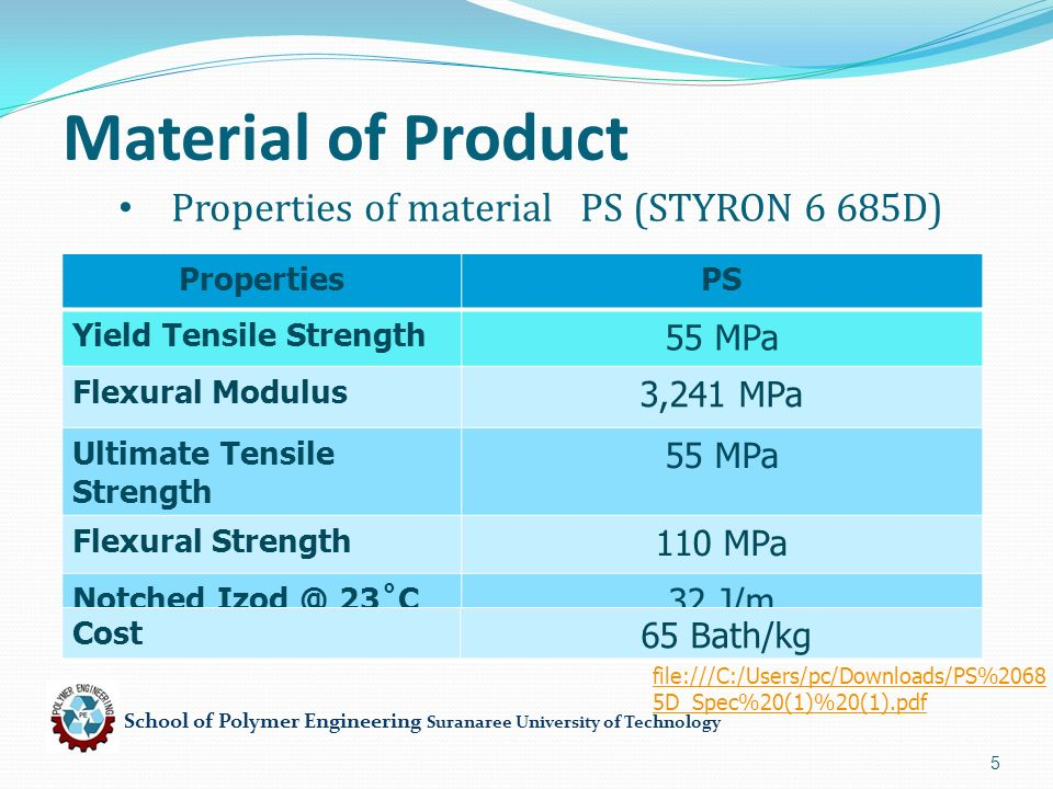 School of Polymer Engineering Suranaree University of Technology 5 Properties of material PS (STYRON 6 685D) PropertiesPS Yield Tensile Strength 55 MP