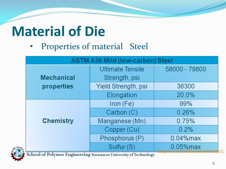 School of Polymer Engineering Suranaree University of Technology 6 Material of Die Properties of material Steel https://word.office.live.com/wv/