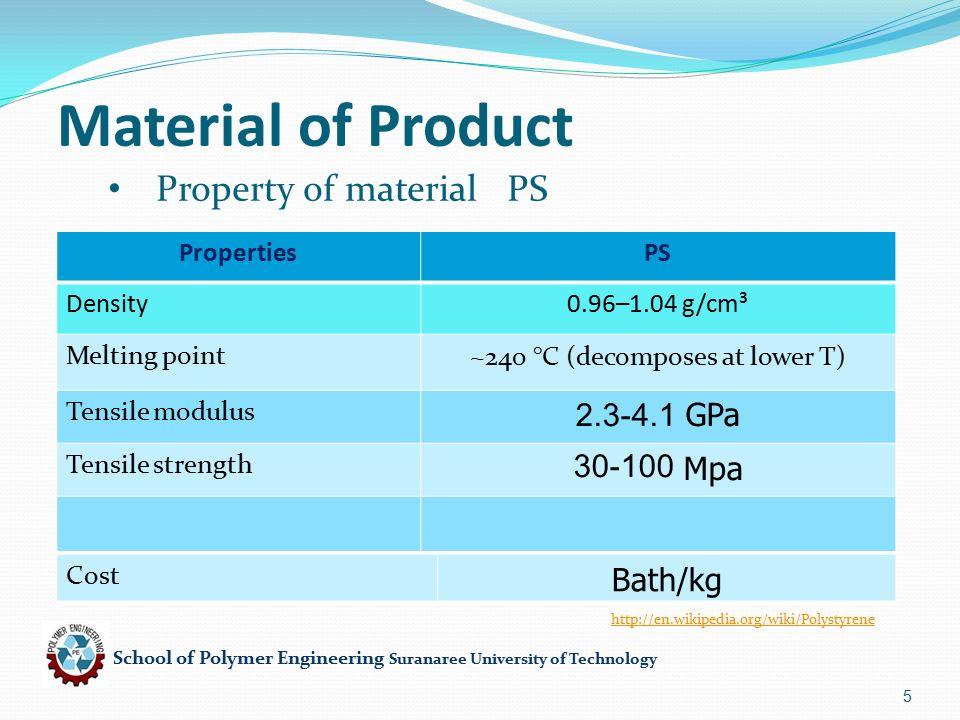 School of Polymer Engineering Suranaree University of Technology 6 Product design