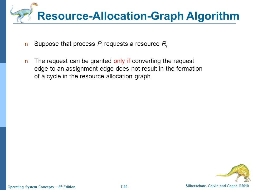 7.25 Silberschatz, Galvin and Gagne ©2010 Operating System Concepts – 8 th Edition Resource-Allocation-Graph Algorithm Suppose that process P i requests a resource R j The request can be granted only if converting the request edge to an assignment edge does not result in the formation of a cycle in the resource allocation graph