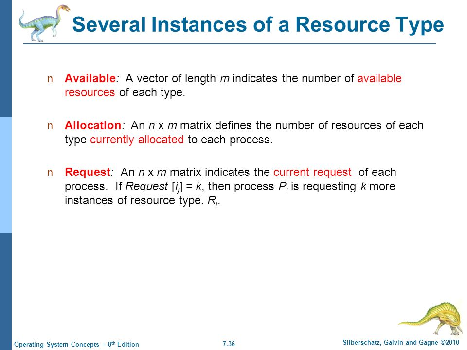 7.36 Silberschatz, Galvin and Gagne ©2010 Operating System Concepts – 8 th Edition Several Instances of a Resource Type Available: A vector of length m indicates the number of available resources of each type.
