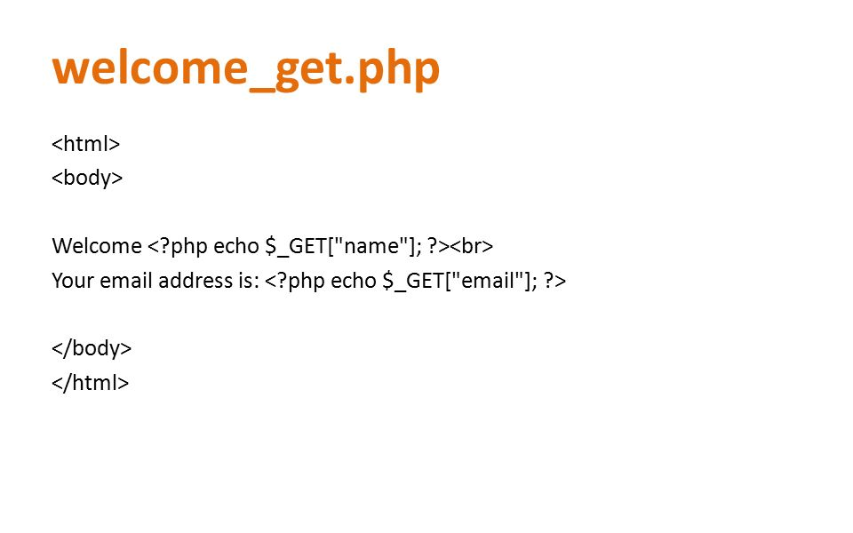 welcome_get.php Welcome Your email address is: