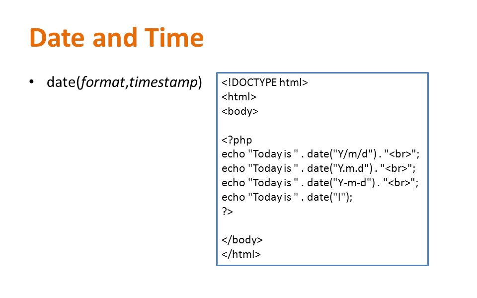php date ymd