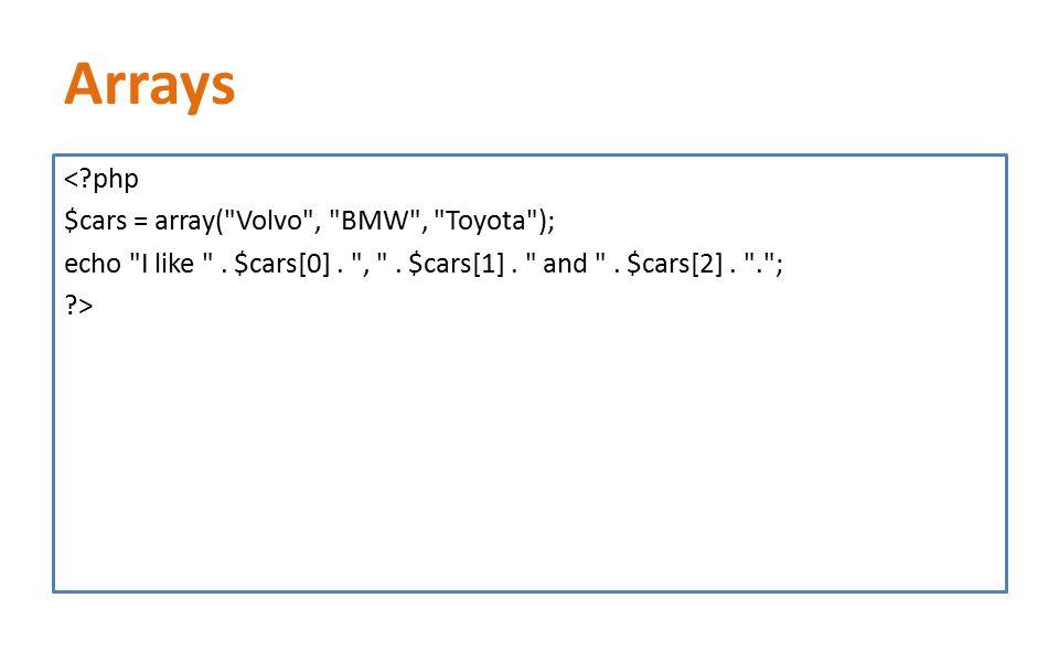 Arrays <?php $cars = array( Volvo , BMW , Toyota ); echo I like .