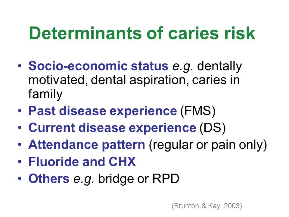 Determinants of caries risk Socio-economic status e.g.