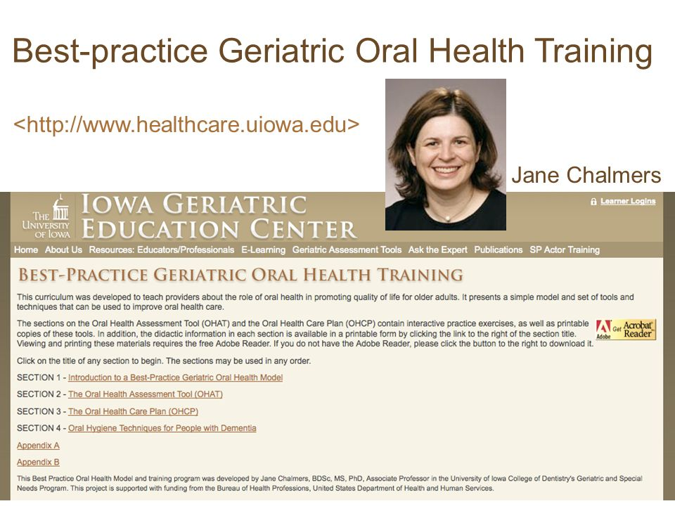 Jane Chalmers Best-practice Geriatric Oral Health Training
