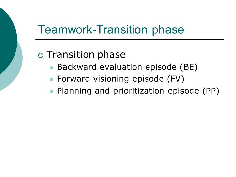 Teamwork-Action phase  Action phase Resource and progress monitoring episode (RM) Team assistance episode (TA) Information gathering episode (IG)