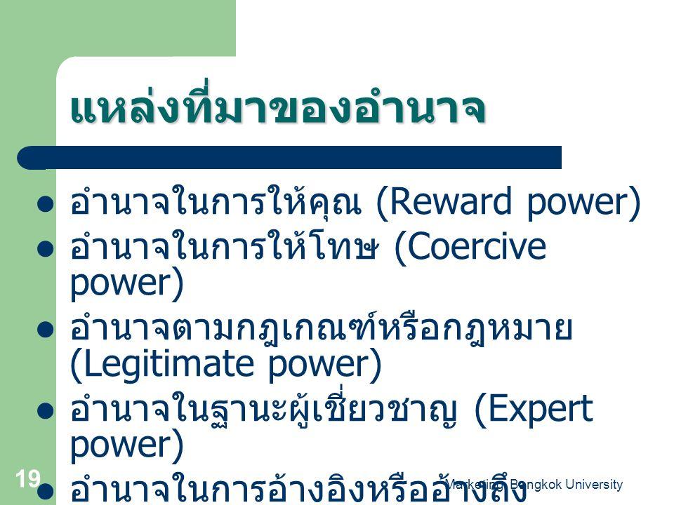 Marketing, Bangkok University 19 แหล่งที่มาของอำนาจ อำนาจในการให้คุณ (Reward power) อำนาจในการให้โทษ (Coercive power) อำนาจตามกฎเกณฑ์หรือกฎหมาย (Legit