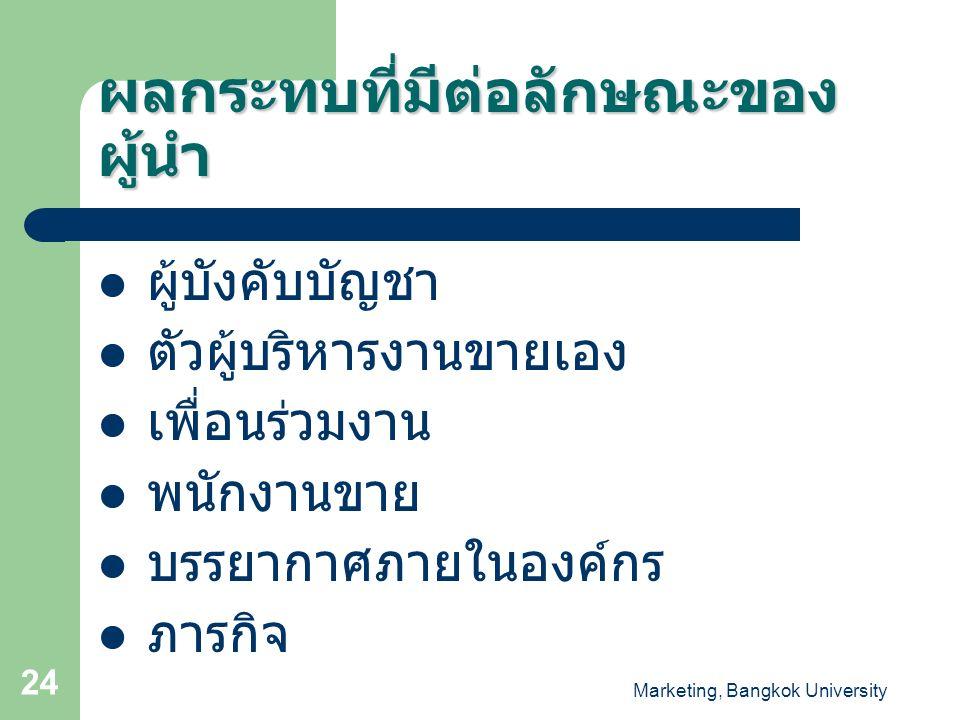 Marketing, Bangkok University 24 ผลกระทบที่มีต่อลักษณะของ ผู้นำ ผู้บังคับบัญชา ตัวผู้บริหารงานขายเอง เพื่อนร่วมงาน พนักงานขาย บรรยากาศภายในองค์กร ภารก