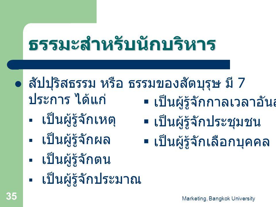 Marketing, Bangkok University 35 ธรรมะสำหรับนักบริหาร สัปปุริสธรรม หรือ ธรรมของสัตบุรุษ มี 7 ประการ ได้แก่  เป็นผู้รู้จักเหตุ  เป็นผู้รู้จักผล  เป็