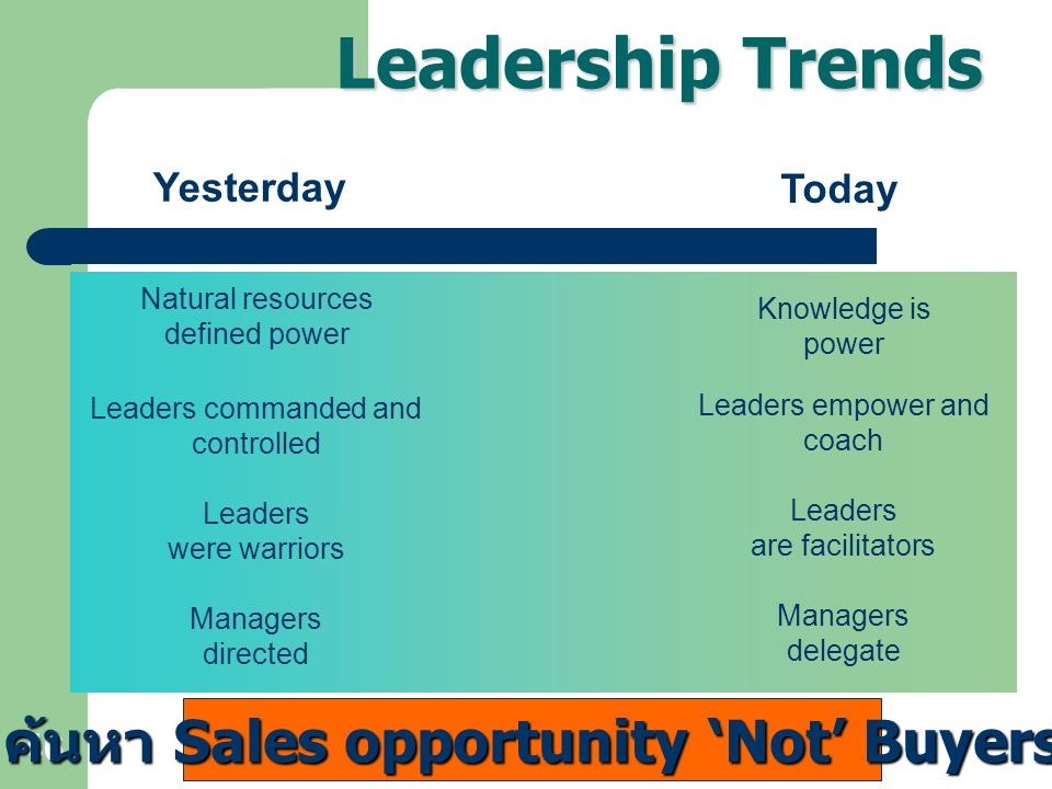 46 Leadership Trends Natural resources defined power Knowledge is power Leaders commanded and controlled Leaders empower and coach Leaders were warrio