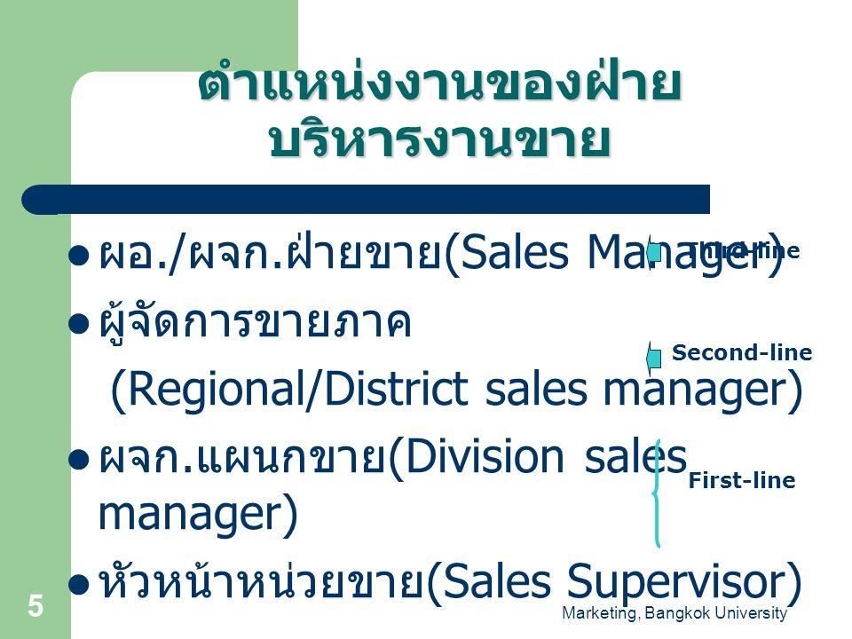 Marketing, Bangkok University 6 ผู้จัดการฝ่ายขาย (Sales Manager) วางโปรแกรมการขาย จัดองค์การขาย บริหารบุคคลในแผนกขาย ติดต่อสื่อสาร และสร้าง ความสัมพันธ์ภายในและนอก องค์กร สร้างมาตรฐานการควบคุม