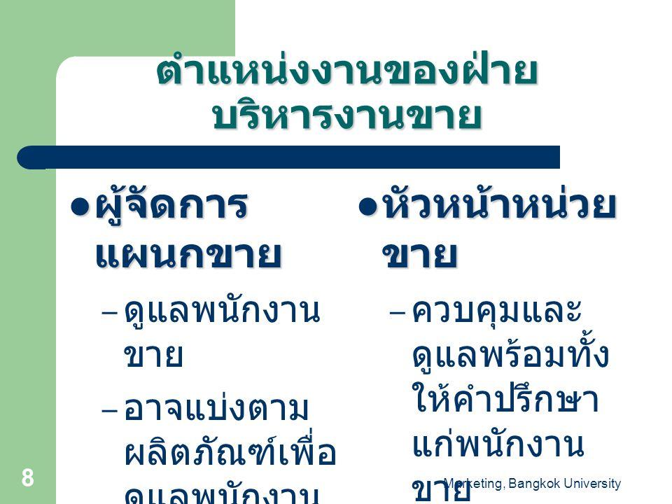 Marketing, Bangkok University 8 ผู้จัดการ แผนกขาย ผู้จัดการ แผนกขาย – ดูแลพนักงาน ขาย – อาจแบ่งตาม ผลิตภัณฑ์เพื่อ ดูแลพนักงาน ขายในแต่ละ ผลิตภัณฑ์ก็ได