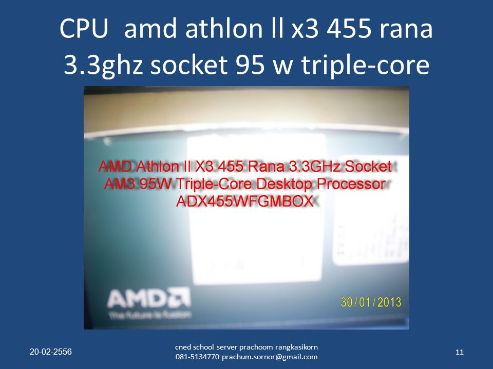 CPU amd athlon ll x3 455 rana 3.3ghz socket 95 w triple-core 20-02-255611 cned school server prachoom rangkasikorn 081-5134770 prachum.sornor@gmail.com