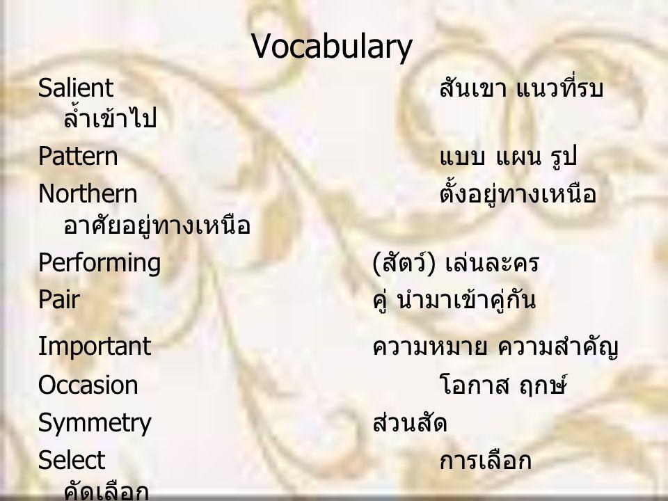 Vocabulary Salient สันเขา แนวที่รบ ล้ำเข้าไป Pattern แบบ แผน รูป Northern ตั้งอยู่ทางเหนือ อาศัยอยู่ทางเหนือ Performing( สัตว์ ) เล่นละคร Pair คู่ นำม