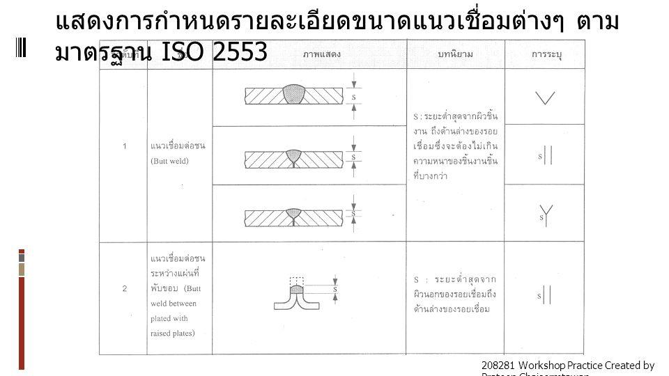 แสดงการกำหนดรายละเอียดขนาดแนวเชื่อมต่างๆ ตาม มาตรฐาน ISO 2553 208281 Workshop Practice Created by Prateep Chaisermtawan