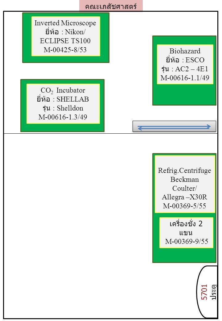 คณะเภสัชศาสตร์ 5701 ประตู Refrig.Centrifuge Beckman Coulter/ Allegra –X30R M-00369-5/55 เครื่องชั่ง 2 แขน M-00369-9/55 Biohazard ยี่ห้อ : ESCO รุ่น : AC2 – 4E1 M-00616-1.1/49 CO 2 Incubator ยี่ห้อ : SHELLAB รุ่น : Shelldon M-00616-1.3/49 Inverted Microscope ยี่ห้อ : Nikon/ ECLIPSE TS100 M-00425-8/53