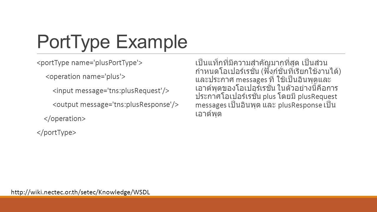 PortType Example เป็นแท็กที่มีความสำคัญมากที่สุด เป็นส่วน กำหนดโอเปอร์เรชั่น ( ฟังก์ชั่นที่เรียกใช้งานได้ ) และประกาศ messages ที่ ใช้เป็นอินพุตและ เอาต์พุตของโอเปอร์เรชั่น ในตัวอย่างนี้คือการ ประกาศโอเปอร์เรชั่น plus โดยมี plusRequest messages เป็นอินพุต และ plusResponse เป็น เอาต์พุต http://wiki.nectec.or.th/setec/Knowledge/WSDL
