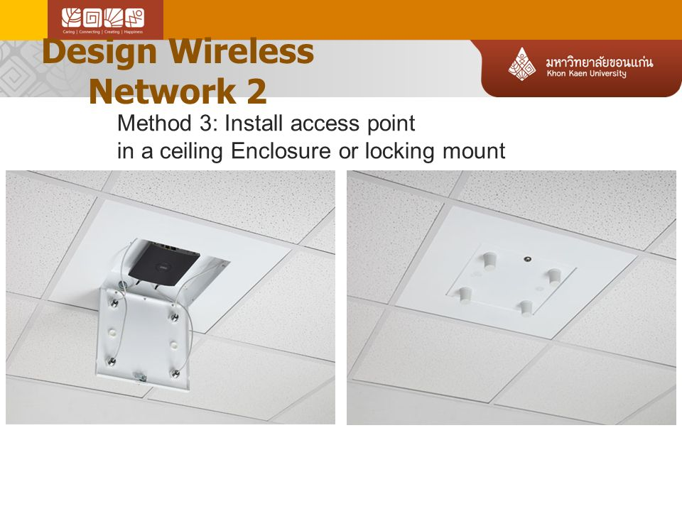 Design Wireless Network 2 Method 3: Install access point in a ceiling Enclosure or locking mount