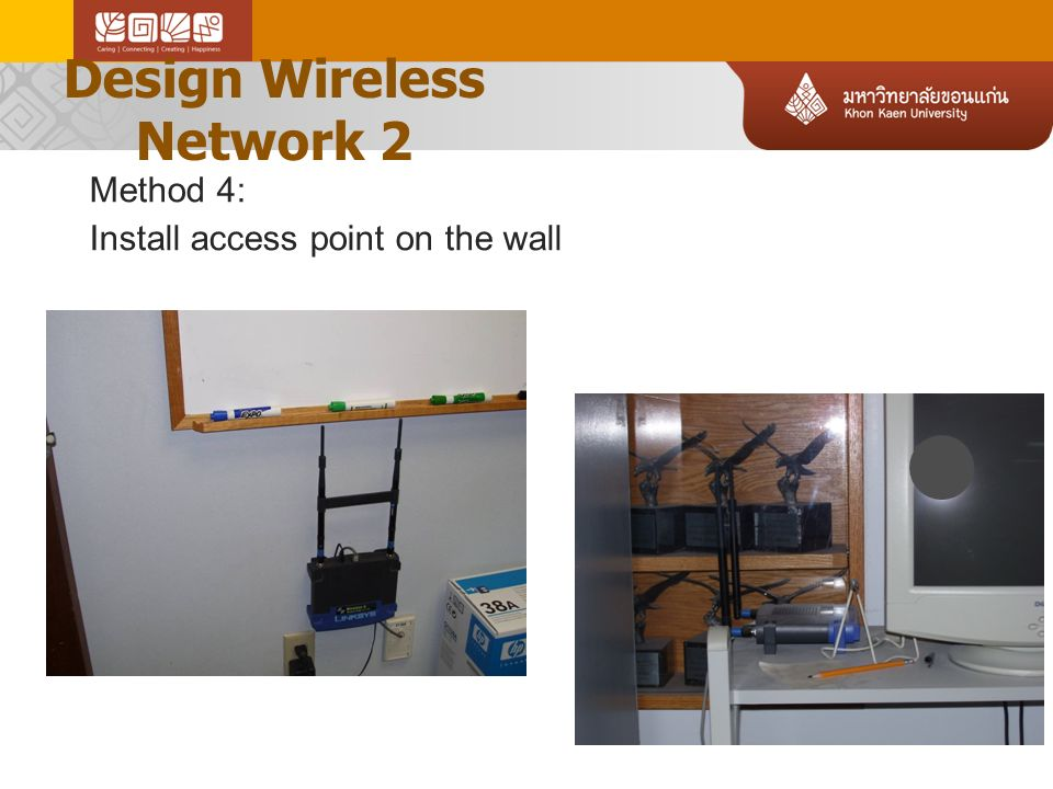 Design Wireless Network 2 Method 4: Install access point on the wall