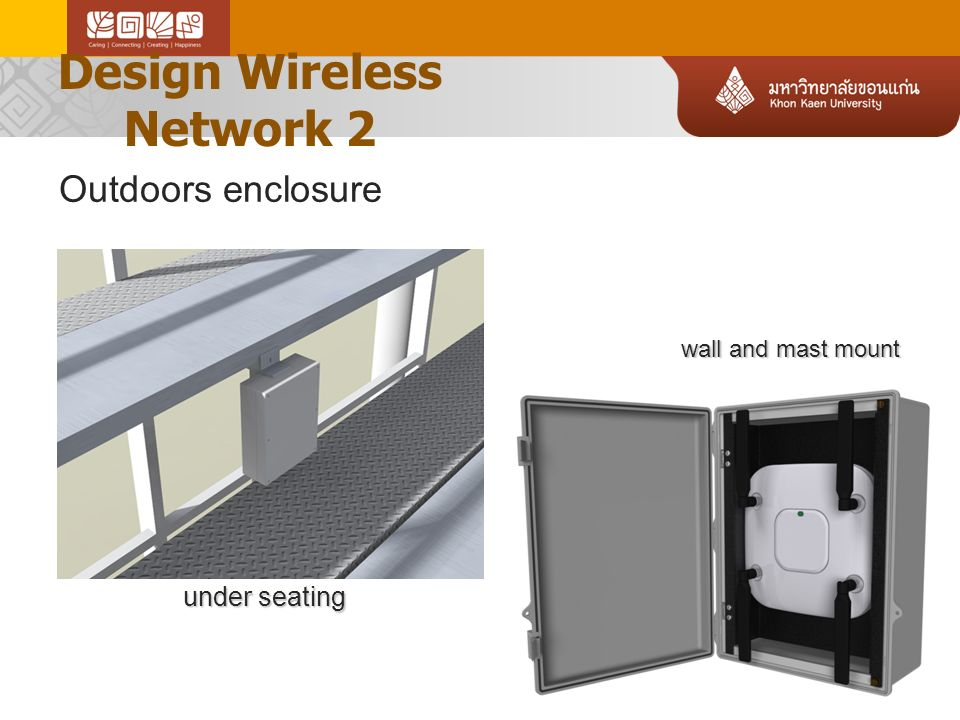 Design Wireless Network 2 under seating wall and mast mount Outdoors enclosure