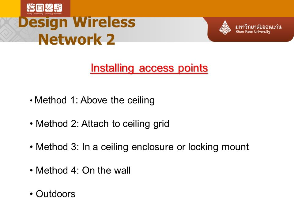 Design Wireless Network 2 7 AP above drop ceiling AP on the wall AP on the ceiling grid AP in enclosure Preferred installation