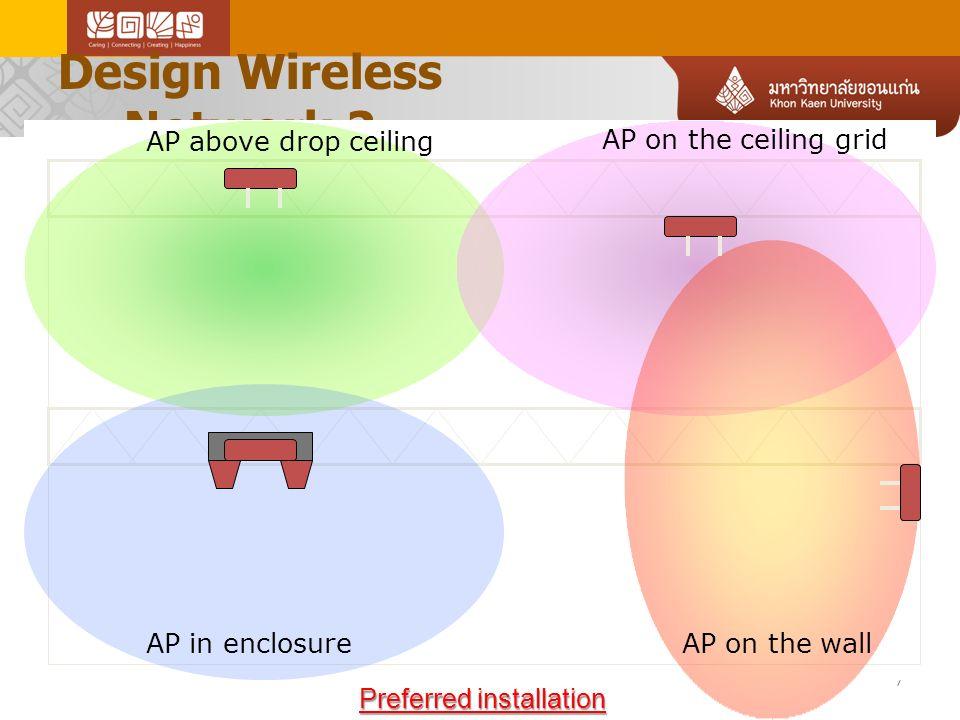 Design Wireless Network 2 Link-Up 10-13-2010 Method 1: Above the ceiling - things to avoid สิ่งที่ควร หลีกเลี่ยง เมื่อติดตั้งใน เพดาน .