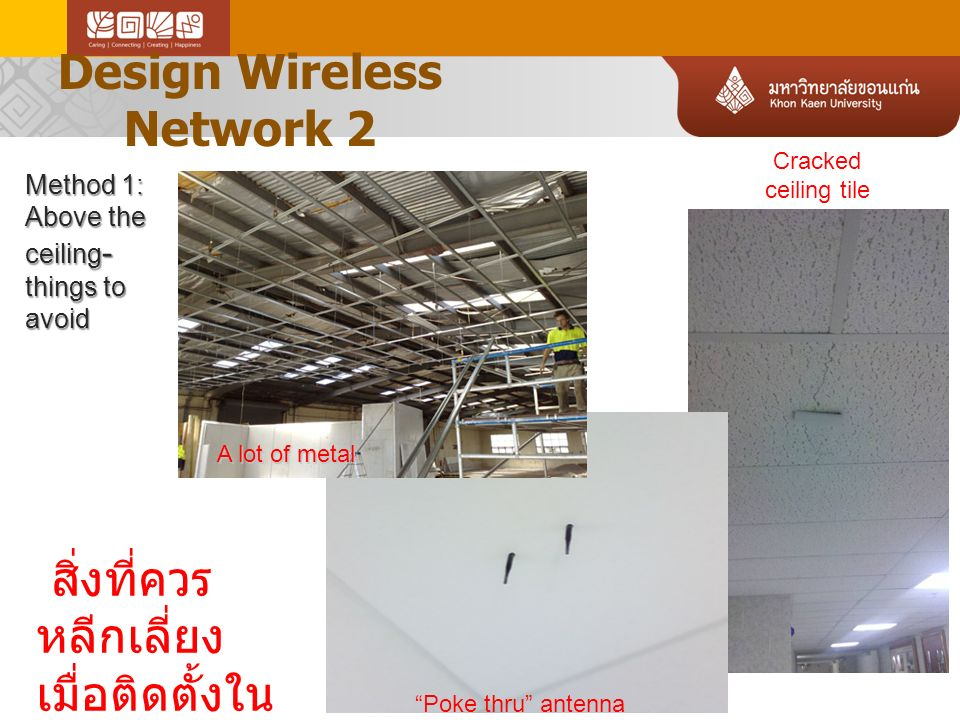 Design Wireless Network 2 Link-Up 10-13-2010 Method 1: Above the ceiling - things to avoid สิ่งที่ควร หลีกเลี่ยง เมื่อติดตั้งใน เพดาน .