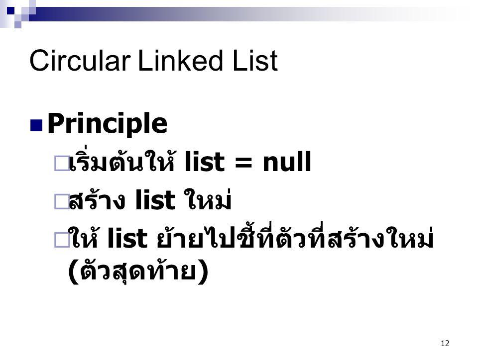 12 Circular Linked List Principle  เริ่มต้นให้ list = null  สร้าง list ใหม่  ให้ list ย้ายไปชี้ที่ตัวที่สร้างใหม่ ( ตัวสุดท้าย )